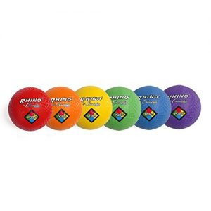Champion Sports Playground Ball Set: 6 Multi Colored Textured Nylon Soft Rubber Bouncy Indoor Outdoor Balls Perfect Kids Dodgeball Kickball Foursquare Handball Games