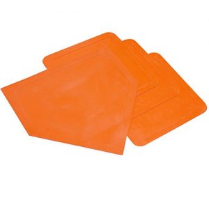 Champion Sports Indoor Outdoor Bases: Orange Youth League Baseball & Softball Rubber Throw Down Base Set – Boys & Girls Training & Practice Equipment