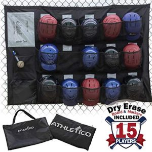 Athletico 15 Player Dugout Organizer – Hanging Baseball Helmet Bag to Organize Baseball Equipment Including Gloves, Helmets, Batting Gloves, Balls, More